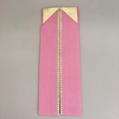 (オリジナル商品)ラインストーン付き重ね襟【絹・ピンク】