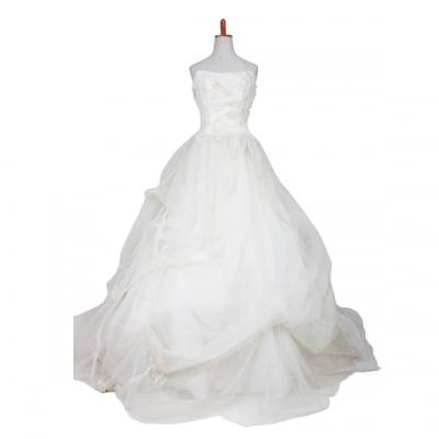 【激安】ウエディングドレス/ウェディングドレス/中古/イエローベージュ/クリーム色ドレス/ww-0005