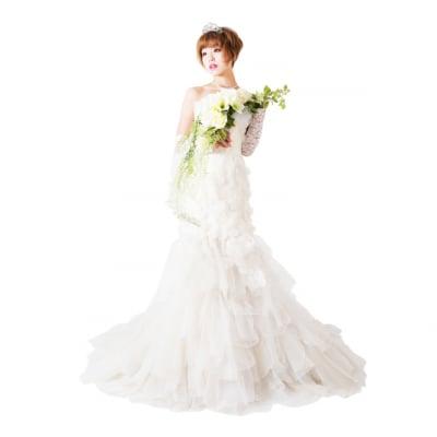 【激安】ウエディングドレス/ウェディングドレス/中古/ベージュ色ドレス/ww-0021