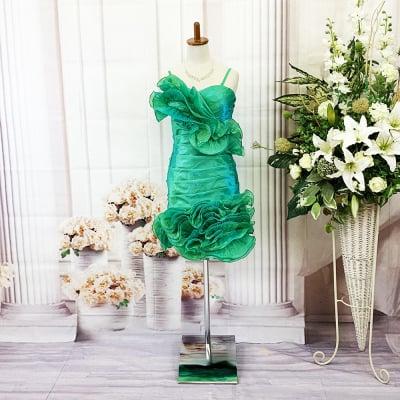 ミニドレス/Sサイズ/グリーン/デザインドレス/編み上げ/st-s-0013