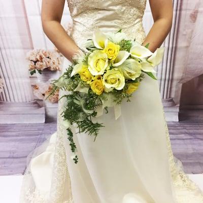 【造花ウェディングブーケ】黄色いバラのブライダルブーケ/ブートニアセット/bq-0028